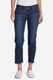 Women's Elysian Slim Straight Crop Jeans - Raw Edge