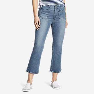 Thumbnail View 1 - Women's Elysian High-Rise Kick Flare Patch Pocket Crop Jeans
