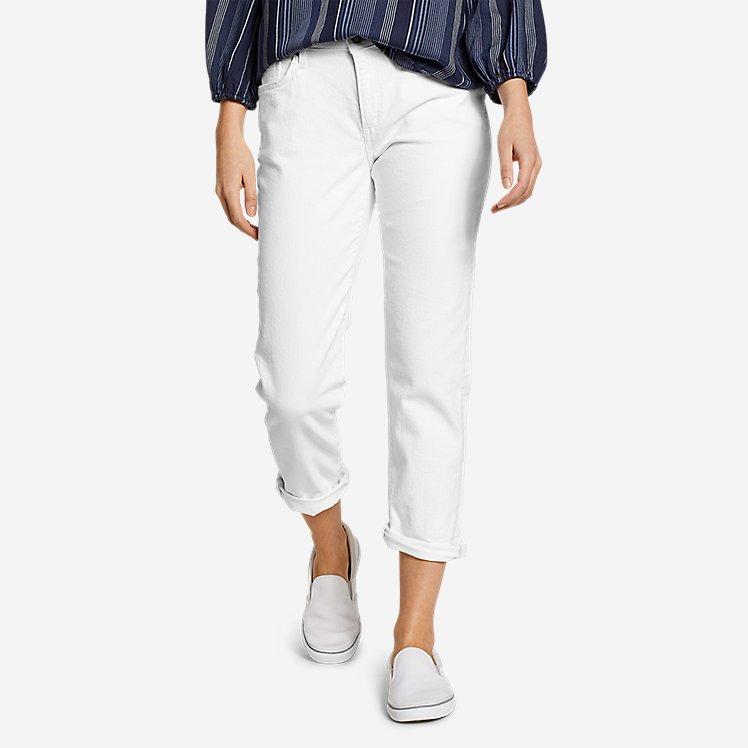 Women's Boyfriend Cropped Jeans - White large version