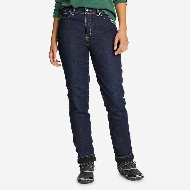 Women's Voyager Fleece-Lined High-Rise Jeans - Slightly Curvy Slim Straight large version