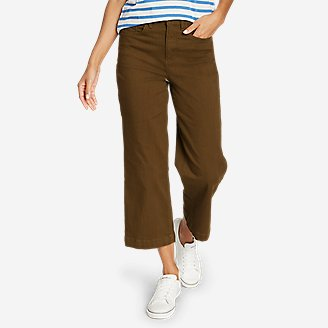 Thumbnail View 1 - Women's Elysian Slub Twill Wide-Leg Crop Carpenter Jeans