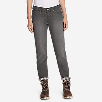Thumbnail View 1 - Women's Boyfriend Flannel-Lined Jeans