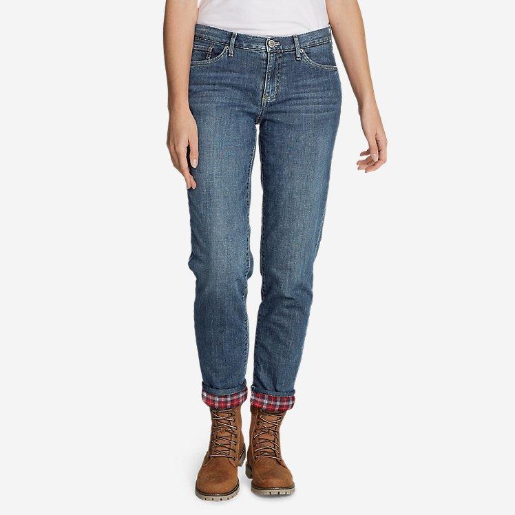 Women's Boyfriend Flannel-Lined Jeans large version