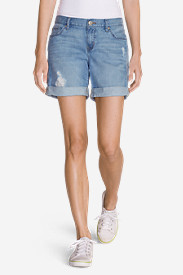 Women's Boyfriend Embroidered Denim Shorts - Destroyed