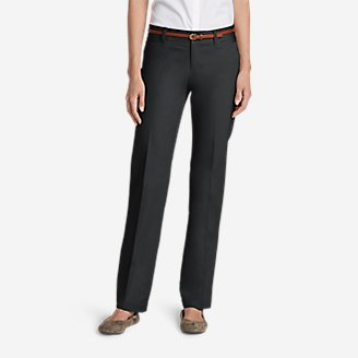 Thumbnail View 1 - Women's StayShape® Straight Twill Pants - Slightly Curvy
