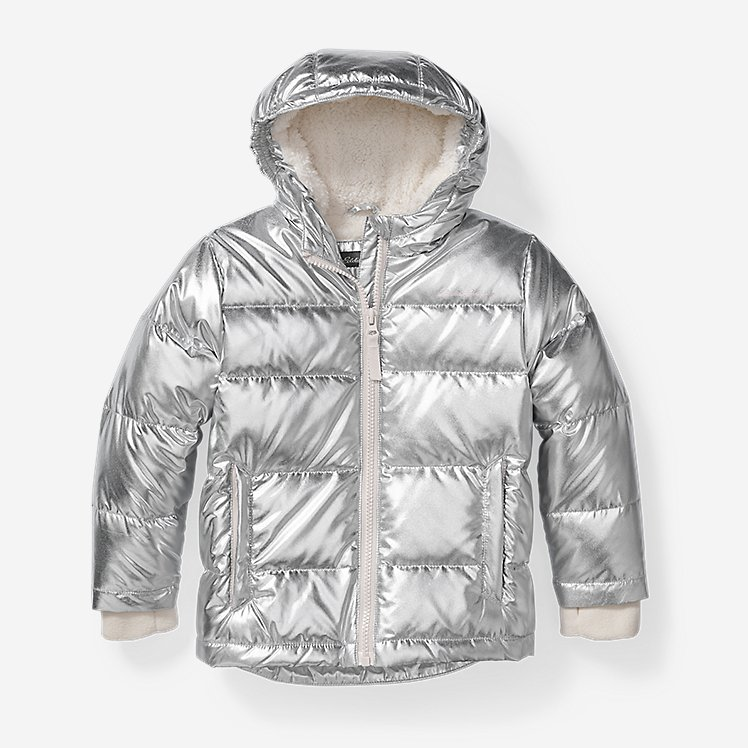 Girls' Classic Down Hooded Jacket - Metallic large version