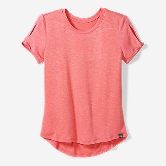 Thumbnail View 1 - Girls' Vista Twist Pleated-Back Short-Sleeve T-Shirt