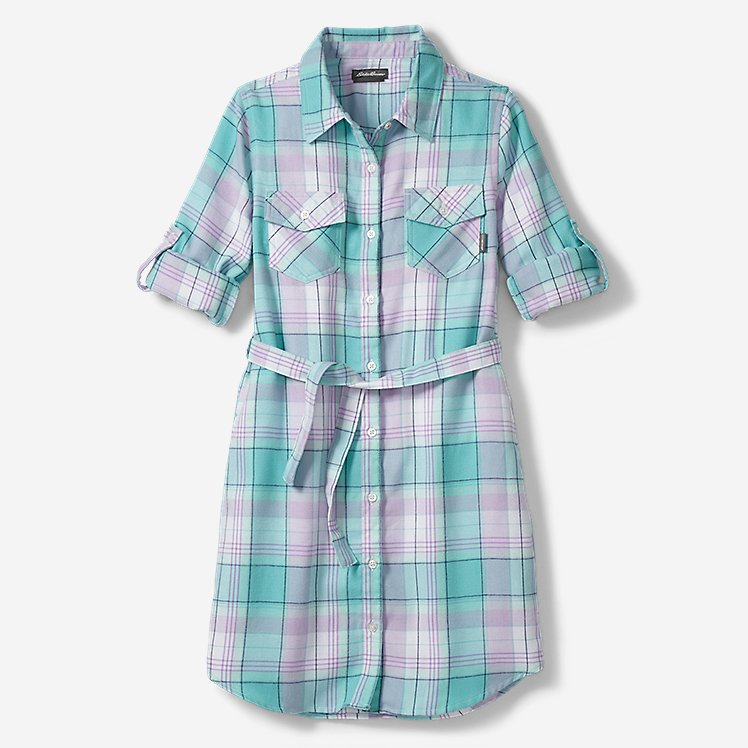 Girls' Plaid Shirt Dress large version