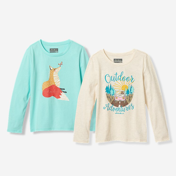 Girls' Graphic Long-Sleeve T-Shirt - 2-Pack large version