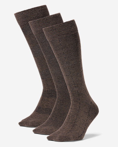 Men's Pattern Crew Socks - 3 Pack Classic, all-purpose crew-length socks in a comfortable, durable blend of cotton/polyester/rubber/spandex.