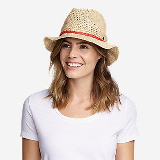 Thumbnail View 1 - Women's Packable Straw Hat - Medium Brim