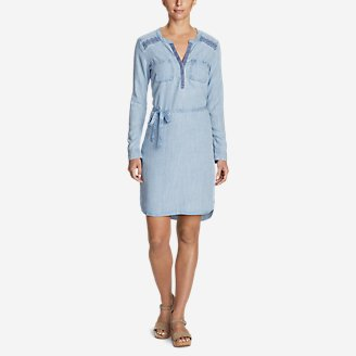 Thumbnail View 1 - Women's Tranquil Indigo Embroidered Dress