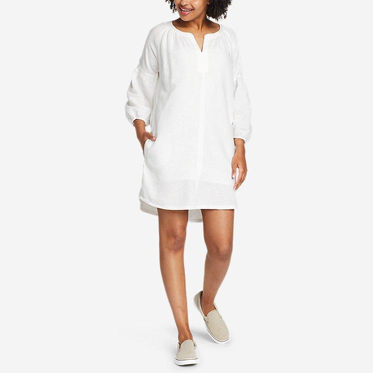 Women's Linen Split-Neck Dress large version