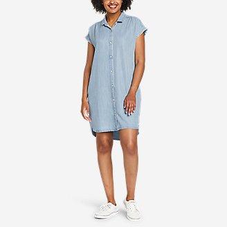 Thumbnail View 1 - Women's Tranquil Shirred Shirt Dress - Solid