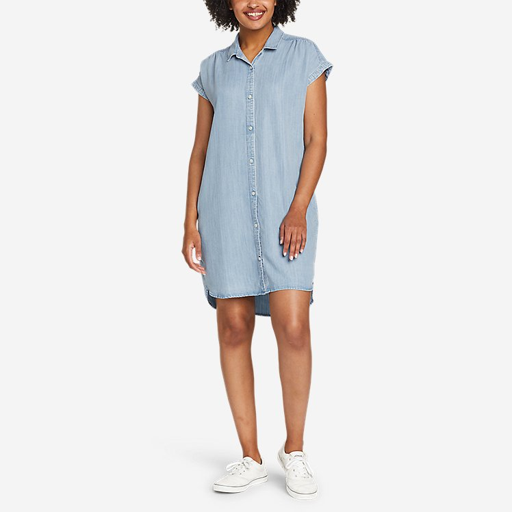 Women's Tranquil Shirred Shirt Dress - Solid large version