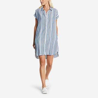 Thumbnail View 1 - Women's Tranquil Shirred Shirt Dress - Yarn-Dyed