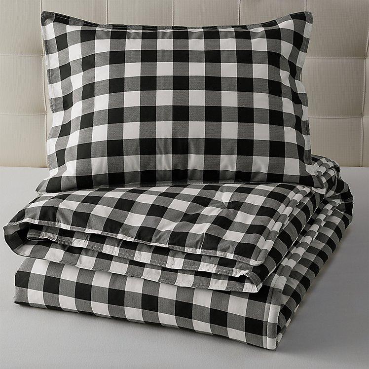 Mountain Plaid Comforter/Sham Set - Black large version