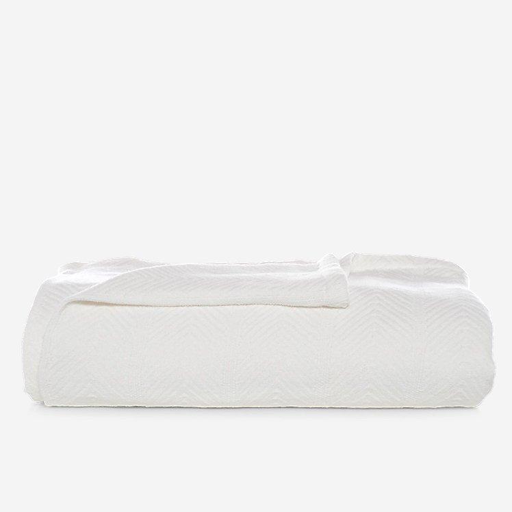 Herringbone Cotton Blanket - White large version