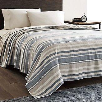 Thumbnail View 1 - Herringbone Cotton Blanket - Blue Stripe