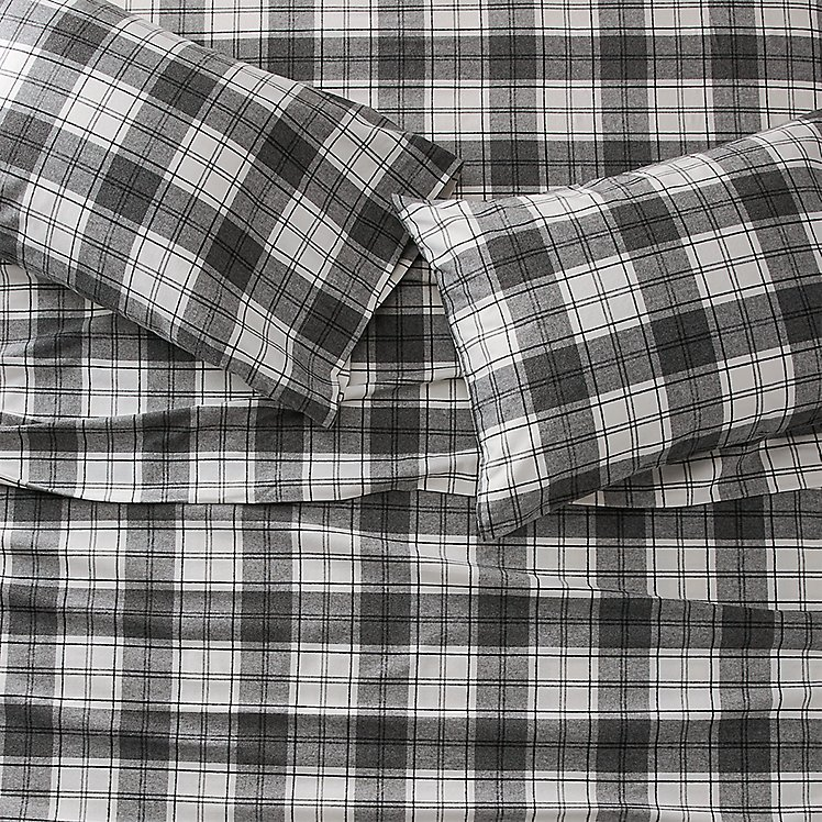 red and black plaid flannel sheets queen