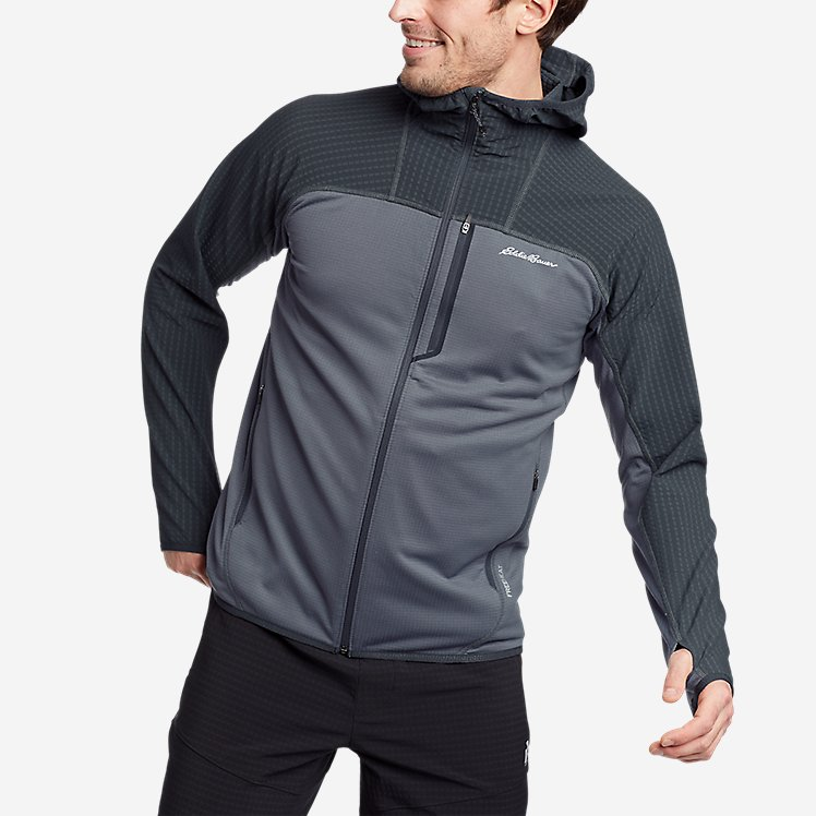 Men's High Route Grid Hybrid Full-Zip Hoodie large version