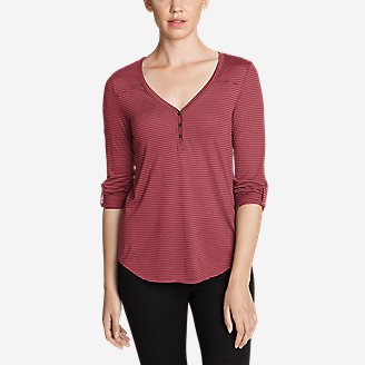 Thumbnail View 1 - Women's Mercer Knit Henley Shirt - Stripe