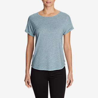 Thumbnail View 1 - Women's Mercer Knit Roll-Sleeve Bateau T-Shirt - Solid