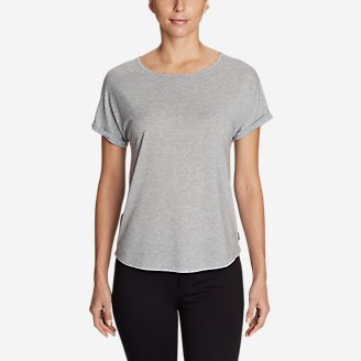 Thumbnail View 1 - Women's Mercer Knit Roll-Sleeve Bateau T-Shirt - Solid