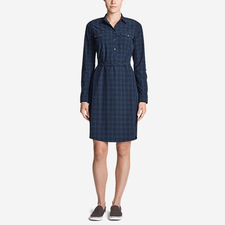 Women's Departure Long-Sleeve Shirt Dress - Plaid large version