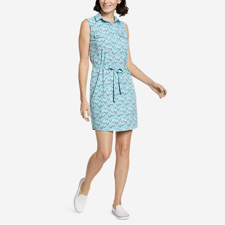 Women's Departure Sleeveless Shirt Dress - Print large version