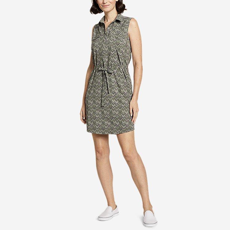 Women's Departure Sleeveless Shirt Dress - Print large version
