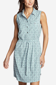 Women's Departure Sleeveless Shirt Dress - Print