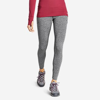 Thumbnail View 1 - Women's Crossover Fleece Trail Tight Leggings - High Rise