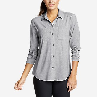 Thumbnail View 1 - Women's Mercer Knit Easy Button-Down Shirt
