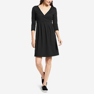 Thumbnail View 1 - Women's Aster 3/4-Sleeve Crossover Dress with Pockets - Solid