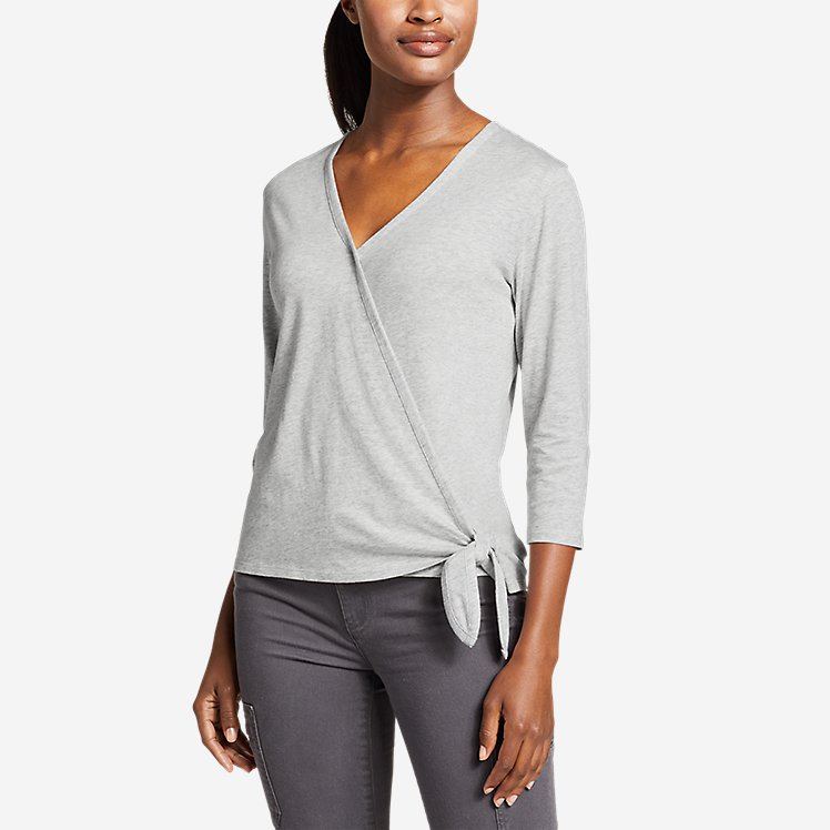 Women's Gate Check 3/4-Sleeve Wrap-Front Top large version