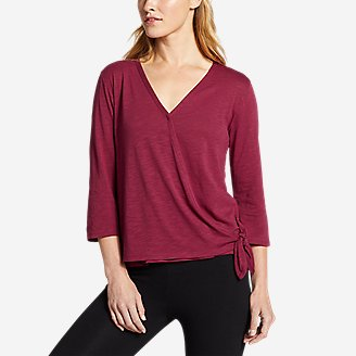 Thumbnail View 1 - Women's Gate Check 3/4-Sleeve Wrap-Front Top