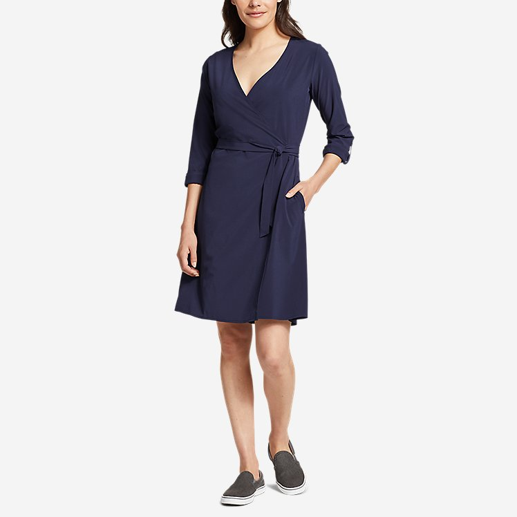 Women's Departure Long-Sleeve Wrap Dress large version