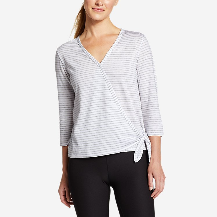 Women's Gate Check 3/4-Sleeve Wrap-Front Top - Stripe large version