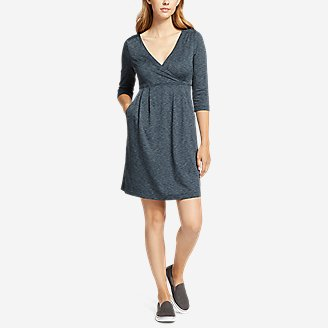 Thumbnail View 1 - Women's Aster 3/4-Sleeve Crossover Dress with Pockets - Space Dye
