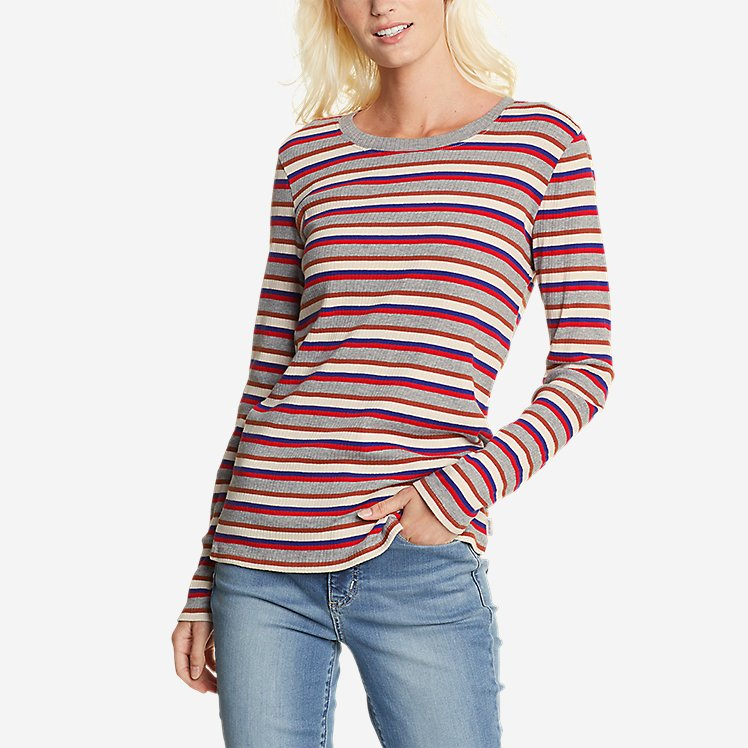 Women's Myriad Rib Long-Sleeve Crew - Stripe large version