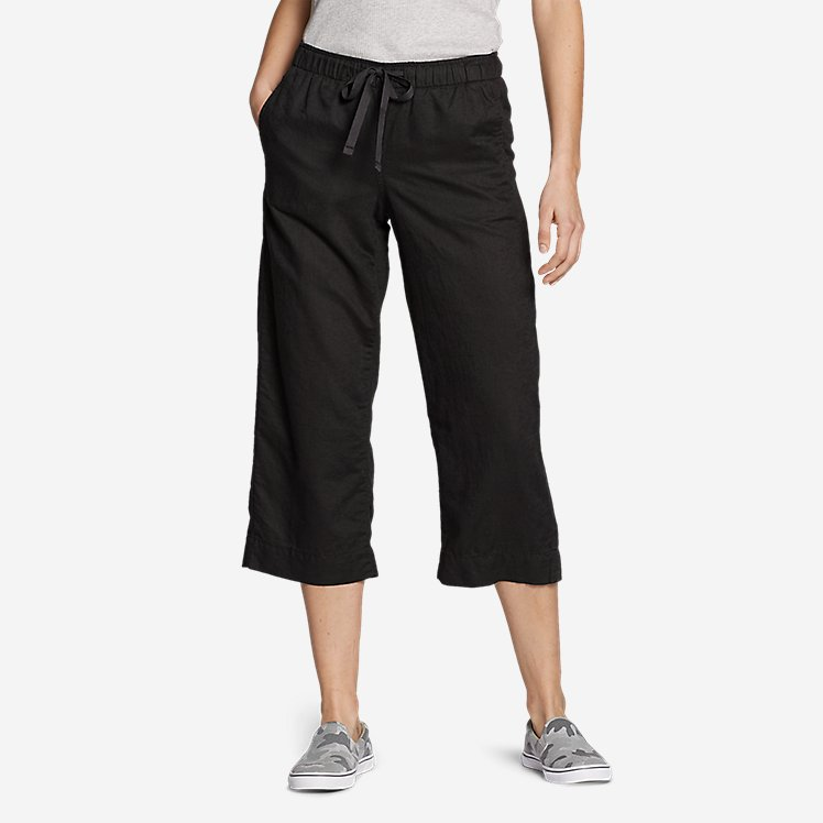 Women's Linen Pull-On Wide-Leg Crop Pants large version