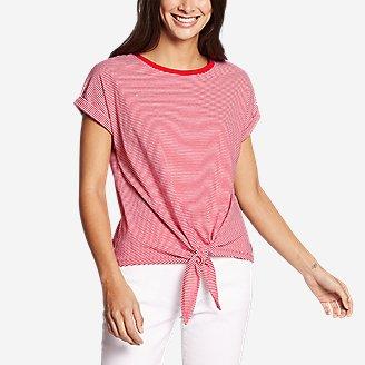 Thumbnail View 1 - Women's Myriad Tie-Front Short-Sleeve T-Shirt - Stripe