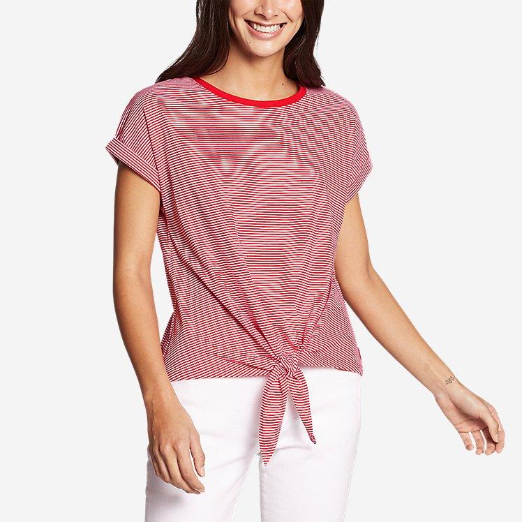Women's Myriad Tie-Front Short-Sleeve T-Shirt - Stripe large version