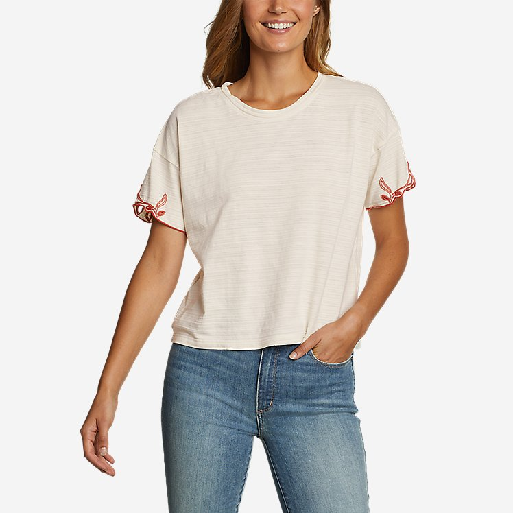 Women's Go-To Embroidered-Sleeve T-Shirt large version
