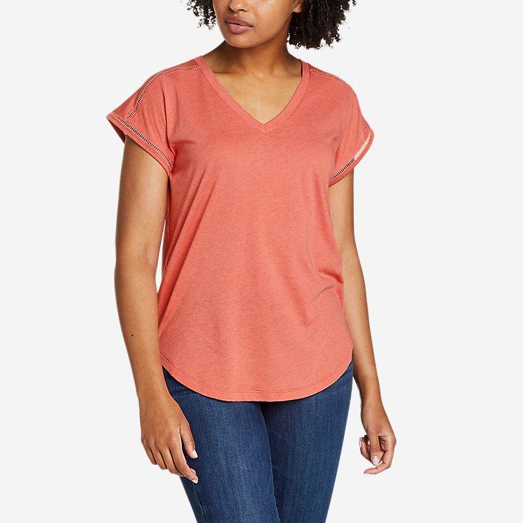 Women's Gate Check Ladder-Stitch V-Neck T-Shirt large version