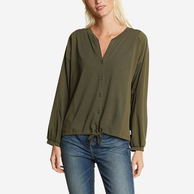 Women's Gate Check Woven-Inset Long-Sleeve Button-Front T-Shirt large version
