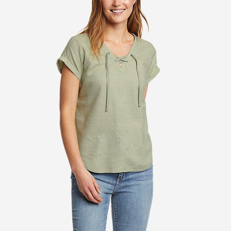 Women's Beach Light Short-Sleeve Lace-Up Top large version