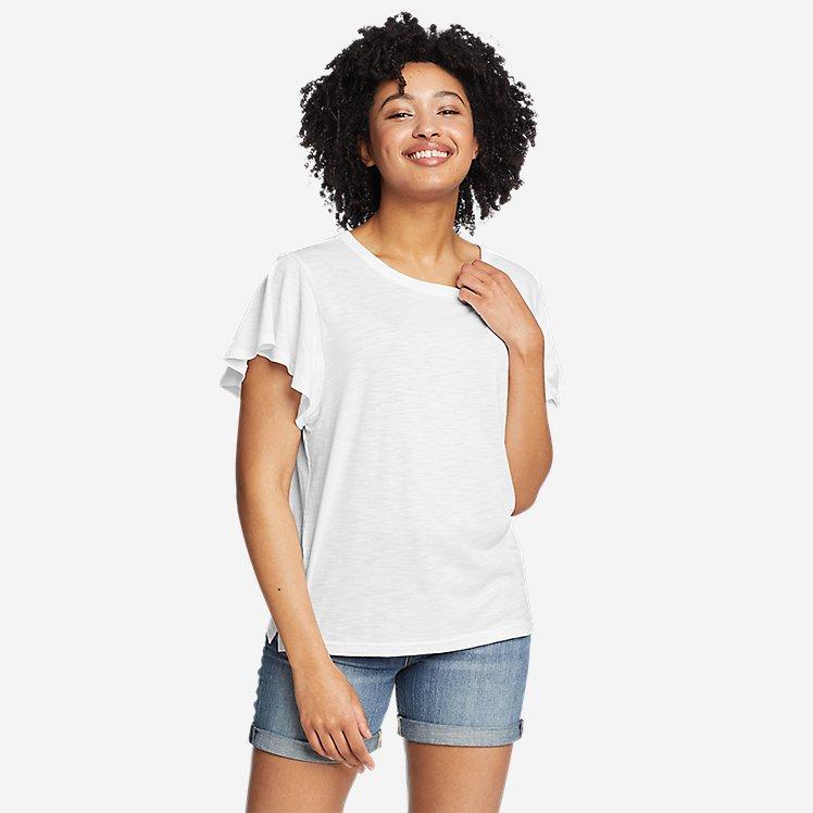 Women's Gate Check Flutter-Sleeve T-Shirt large version