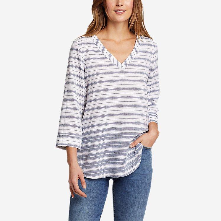 Women's Beach Light Linen 3/4-Sleeve Tunic large version